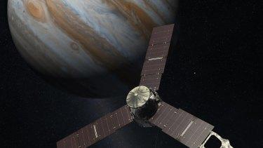 An artist's impression of Juno above Jupiter.