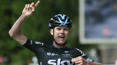 Chris Froome crosses the line after breaking away on the final climb of the Criterium du Dauphiné.