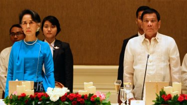 Philippine President Rodrigo Duterte, right, with Myanmar's State Counsellor Aung San Suu Kyi during an official visit to Myanmar on Monday.