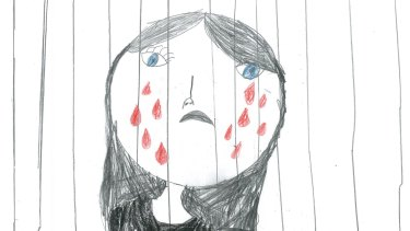 A drawing done by a child being held in detention.
