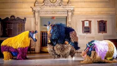 Artist Nick Cave's dancing animals from his <i>Heard</i> exhibition.