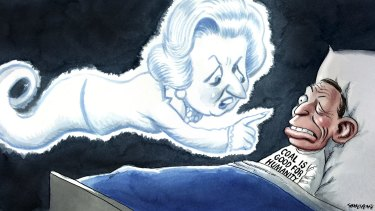 You may not agree with Margaret Thatcher, but on climate change she was spot on. <i>Illustration: John Shakespeare.</i>