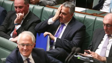 Prime Minister Malcolm Turnbull and Treasurer Joe Hockey during question time on Tuesday.