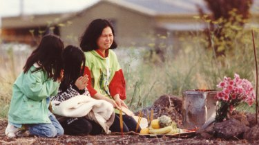 In May 1992, Karmein Chan's mother and her sisters perform a service at the spot where the child's body was discovered in Thomastown.