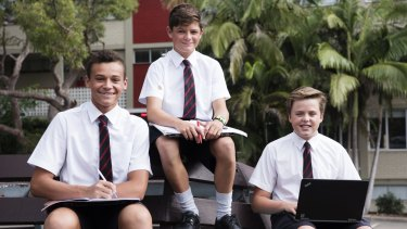 St Pauls students Aiden Helu, Bailey Miller and Jasper Toshack .