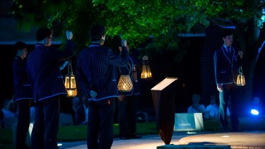 Scenes from the Marist College Canberra healing ceremony on Thursday night.