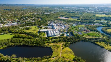 An aerial view of the old Petrie paper mill site.