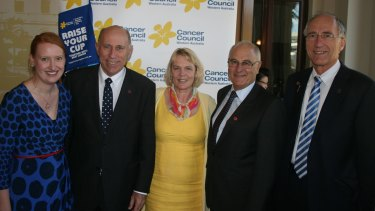 Politicians were all smiles at a Cancer Council morning tea on budget day.