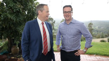 Opposition Leader Bill Shorten pictured with the ALP's candidate for Canning Matt Keogh during a visit to the electorate last month.