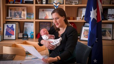 Liberal frontbencher Kelly O'Dwyer with her newborn last week.