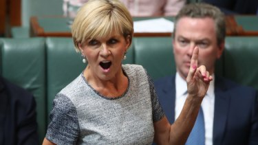 Foreign Minister Julie Bishop goes on the attack during question time.