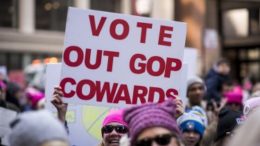 "A demonstrator holds a sign that reads ""Vote Out GOP Cowards"" during the second annual Women's March in Chicago."