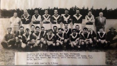 A vintage team shot of the Metro Farm Herefords football club, which played at Cocoroc, inside the Western Treatment Plant.