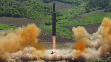 A North Korean government photograph of what it says was the launch of a Hwasong-14 intercontinental ballistic missile in July.