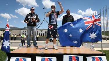 Speakers at a Reclaim Australia rally in Canberra on November 22.