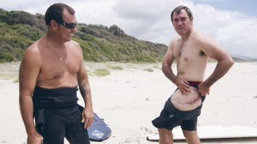 Dave Pearson (at left) with fellow shark attack survivor Dale Carr.