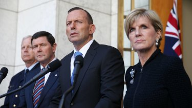 Chief of the Defence Force Air Chief Marshal Mark Binskin, Defence Minister Kevin Andrews, Prime Minister Tony Abbott and Foreign Affairs Minister Julie Bishop announce Australian forces will begin targeting Islamic State in Syria.