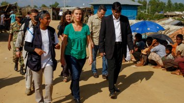 European Union foreign policy chief, Federica Mogherini, in green, visits the Kutupalong Rohingya refugee camp in Cox's Bazaar in November.