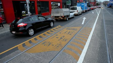 The new line markings for trams on Smith Street between Alexandra and Queens parades.
