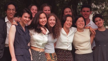 The class of 1995: front: Amber Glynn, Allison Newey, Stephanie Ward, Sally Yue, Sylvia Mak, Saadiah Freeman. Back: Andy Wang, Nicolette Maury, Katrina Sanders, Kirrily Stow, John Butts.