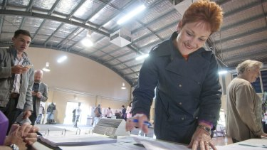 Pauline Hanson on election day at Jamboree State School in Brisbane.
