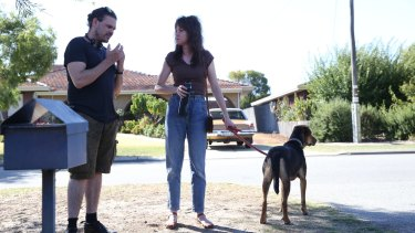 Director Ben Young and Emma Booth on set of Hounds of Love.