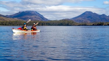 Kayaking near Port Davey, on Tasmania's wild west coast.