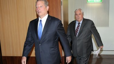 Former United States vice-president Al Gore with Clive Palmer on a previous trip to Australia in 2014.