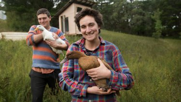 Rachel Newby and Liam Culbertson live on a friend's plot in Gippsland, taking jobs periodically and keeping an emergency fund.