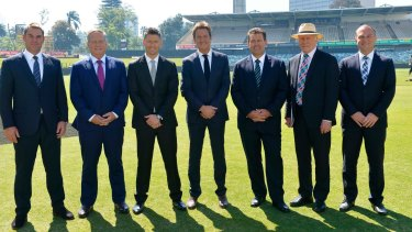 Nine's cricket commentary team at the WACA earlier this year: (from left) Shane Warne, Ian Healy, Michael Clarke, Mark Nicholas, Mark Taylor, Ian Chappell, Michael Slater.