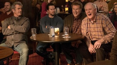 Mel Gibson, Mark Wahlberg, Will Ferrell and John Lithgow in Daddy's Home 2.
