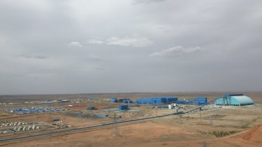 The compound at the Oyu Tolgoi mine appears out of nowhere in the desert.
