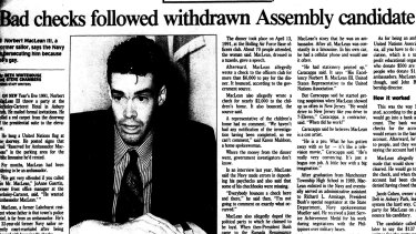 Mr Maclean, as he was then known, made an abortive run for the New Jersey legislature, as local media reported.