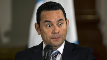 President-elect Jimmy Morales  during a press conference in Guatemala City on Monday.