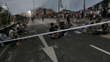 Stand off: Protesters occupy an intersection in the Mong Kok area.