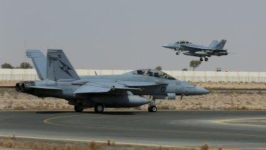 Green light close: Australian Super Hornet fighters.