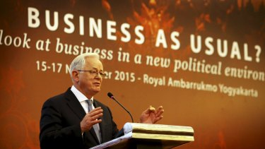 Minister for Trade Andrew Robb addresses a conference in Yogyakarta, Indonesia this week.