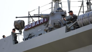 The newest destroyer in the Australian fleet, the HMAS Hobart.