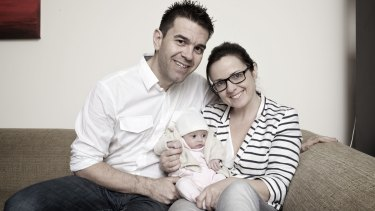 Darren Pinks, wife Clair and then six-week-old Saffron, who was born to a surrogate mother in India in 2012.
