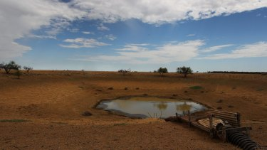 A dam bottoming out near Longreach, in central west Queensland.