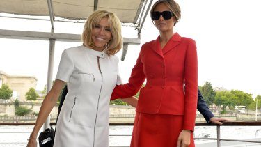 French First Lady Brigitte Macron, left, and US First Lady Melania Trump after a boat ride on the Seine river on Thursday.