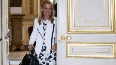 Called in: US Ambassador Jane Hartley walks out of the office of French Foreign Affairs Minister Laurent Fabius on Wednesday.