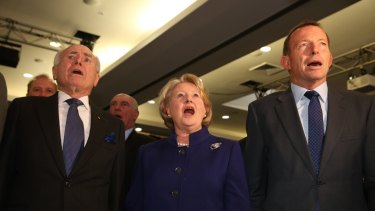 Tony Abbott with John and Janette Howard at the Coalition national campaign.