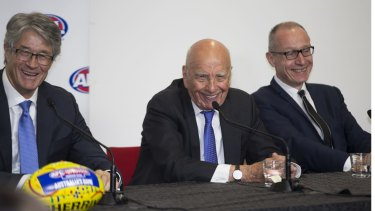 Mike Fitzpatrick, Rupert Murdoch and News Corp's Robert Thompson last August.