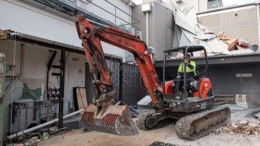 St Kilda's Greyhound Hotel under demolition on Thursday.