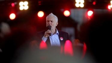 Labour Leader Jeremy Corbyn delivers a speech during an open air rally in Birmingham on June 6.