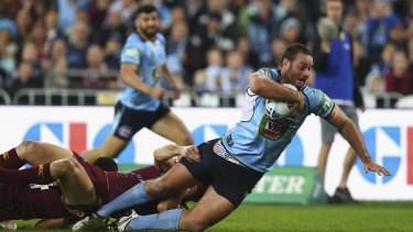 Beset by injuries: Boyd Cordner scores a try for NSW during game one of the State Of Origin series. Cordner is out for the rest of the NRL season.