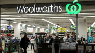 Woolworths shares fell 2.1 per cent on reports German supermarket chain Lidl was applying for trademarks in Australia.