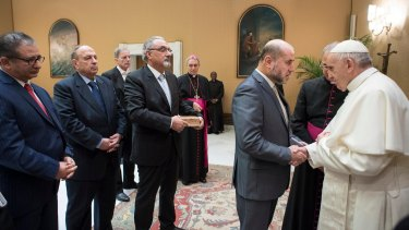 Pope Francis met with a delegation of Palestinian religious and intellectual representatives on Wednesday before he called for the status quo of Jerusalem to be respected.