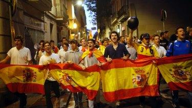 Unionist demonstrators march in Barcelona on October 3.